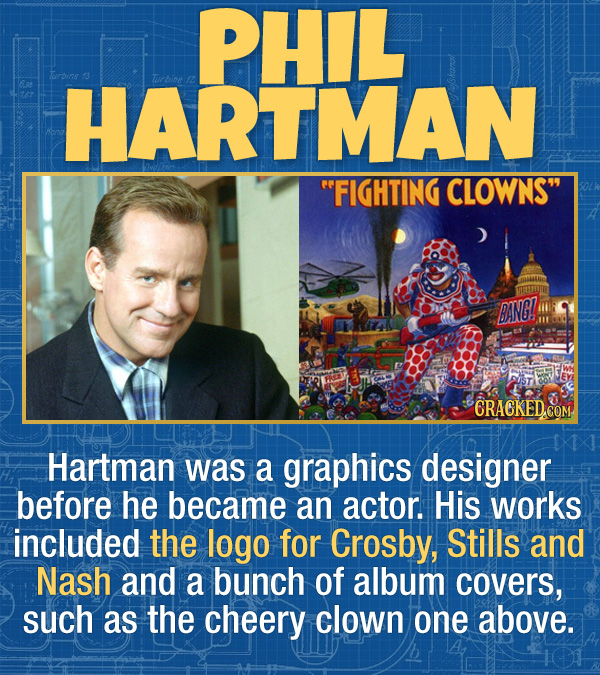 17 Unexpected Accomplishments of Famous People - Hartman was a graphics designer before he became an actor. His works included the logo for Crosby, St