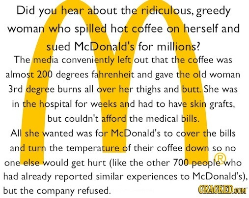 Did you hear about the ridiculous, greedy woman who spilled hot coffee on herself and sued McDonald's for millions? The media conveniently left out th