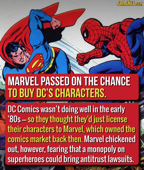 CRACKEDCON MARVEL PASSED ON THE CHANCE TO BUY DC'S CHARACTERS. DC Comics wasn't doing well in the early '80s- SO they thought they'd just license thei