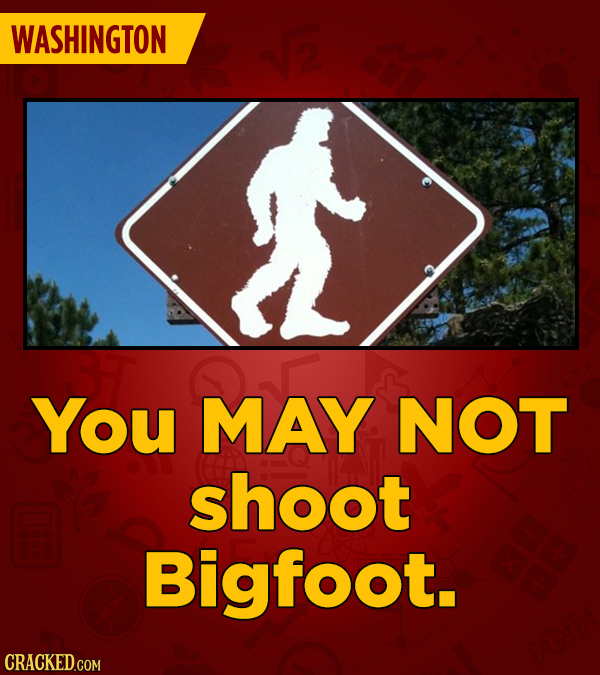 WASHINGTON $2 You MAY NOT shoot Bigfoot. CRACKED COM