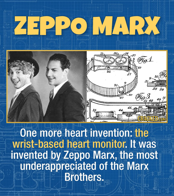 17 Unexpected Accomplishments of Famous People - One more heart invention: the wrist-based heart monitor. It was invented by Zeppo Marx, the most unde