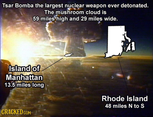 Tsar Bomba the largest nuclear weapon ever detonated. The mushroom cloud is 59 miles high and 29 miles wide. Island of Manhattan 13.5 miles long Rhode