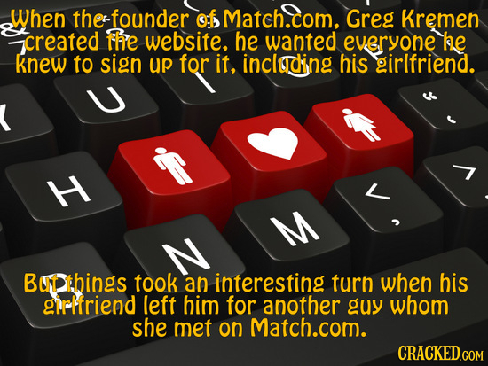 When the founder of Match.com, Greg Kremen created fhe website, he wanted everyone he knew to sign UP for it, including his girlfriend. H M But things