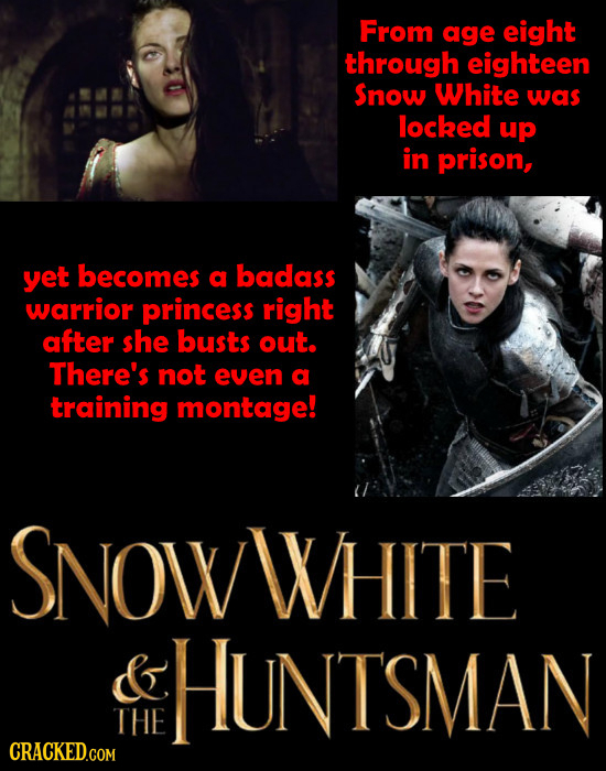 From age eight through eighteen Snow White was locked up in prison, yet becomes a badass warrior princess right after she busts out. There's not even