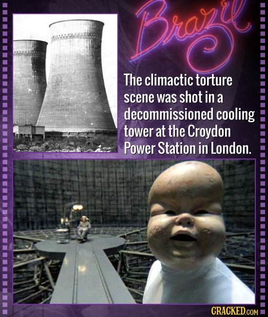 The climactic torture scene was shot in a decommissioned cooling tower at the Croydon Power Station in London.