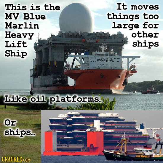 This is the It moves MV Blue things too Marlin large for Heavy other Lift ships Ship pockwse. Like oil platforms. Or ships... CRACKED COM