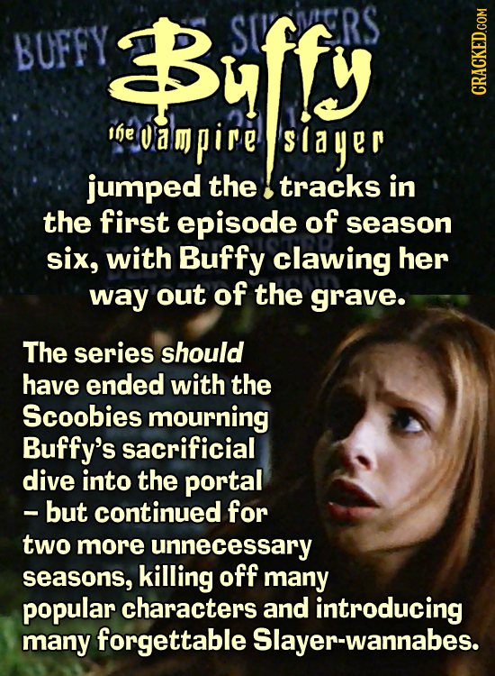 BUFFY Buffy RS Ife ampire slayer jumped the tracks in the first episode of season six, with Buffy clawing her way out of the grave. The series should