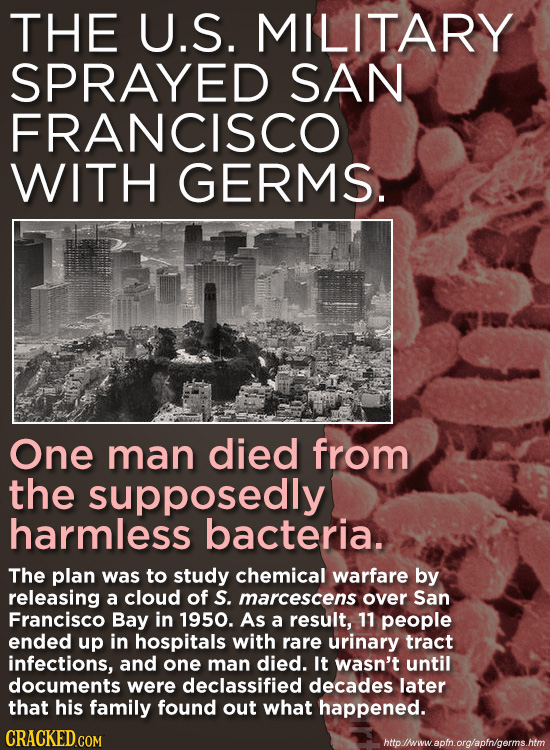 THE U.S. MILITARY SPRAYED SAN FRANCISCO WITH GERMS. One man died from the supposedly harmless bacteria. The plan was to study chemical warfare by rele