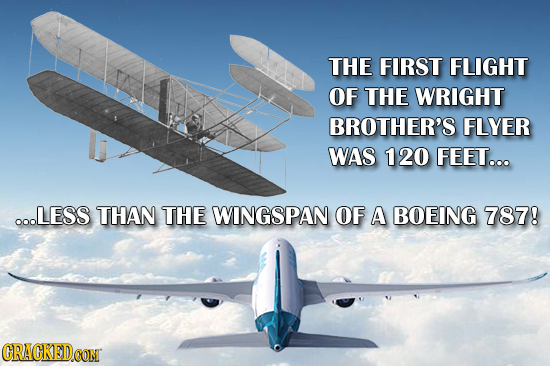 THE FIRST FLIGHT OF THE WRIGHT BROTHER'S FLYER WAS 120 FEET... O0LESS THAN THE WINGSPAN OF A BOEING 787! CRACKEDCON