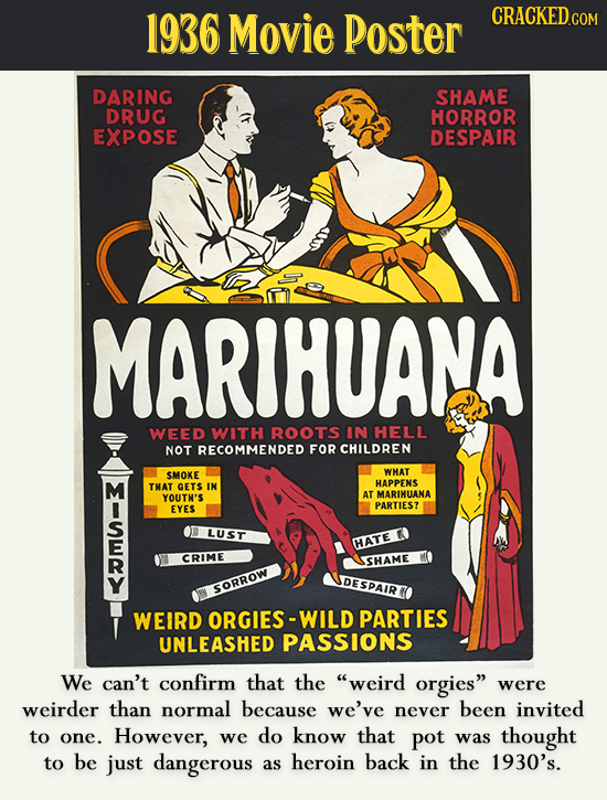 1936 Movie Poster CRACKEDco DARING SHAME DRUG HORROR EXPOSE DESPAIR MARIHUANA WEED WITH ROOTS IN HELL NOT RECOMMENDED FOR CHILDREN SMOKE WHAT M HAPPEN