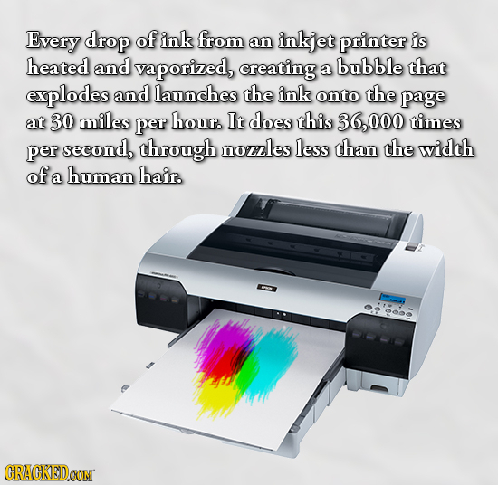 Every drop of ink from an inkjet printer is heated and vaporized, creating bubble a that explodes and launches the ink onto the page at 30 miles per h