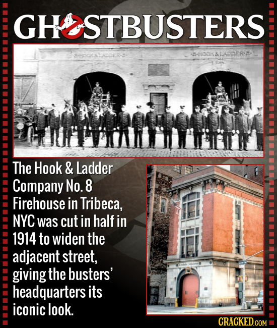 GHOSTBUSTERS --oO ALADER- The Hook & Ladder Company No. 8 Firehouse in Tribeca, NYC was cut in half in 1914 to widen the adjacent street, giving the b