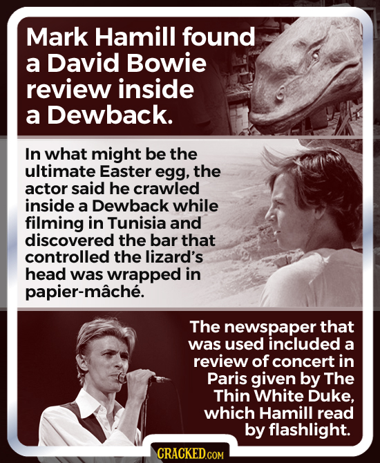 Mark Hamill found a David Bowie review inside a Dewback. In what might be the ultimate Easter egg, the actor said he crawled inside a Dewback while fi