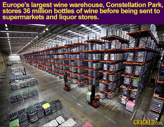 Europe's largest wine warehouse, Constellation Park, stores 36 million bottles of wine before being sent to supermarkets and liquor stores. ADMN CRACK
