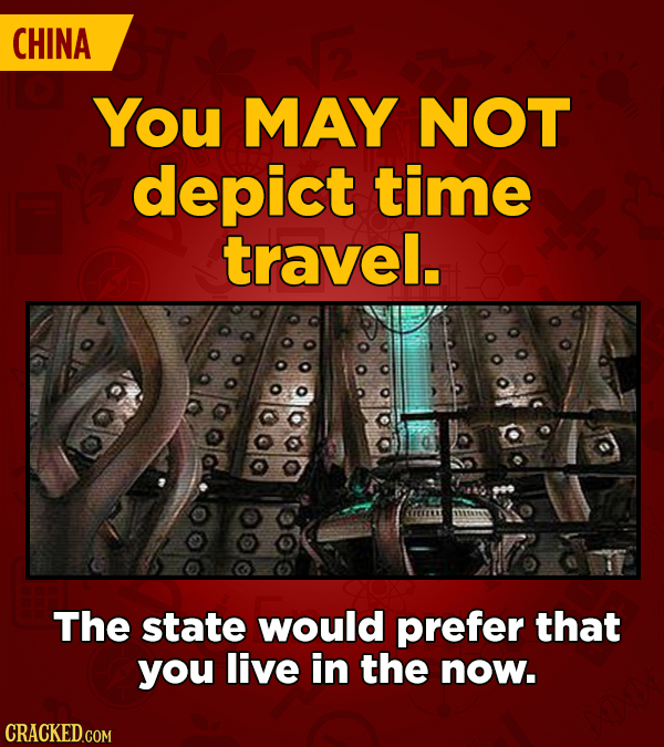 CHINA You MAY NOT depict time travel. The state would prefer that you live in the now.