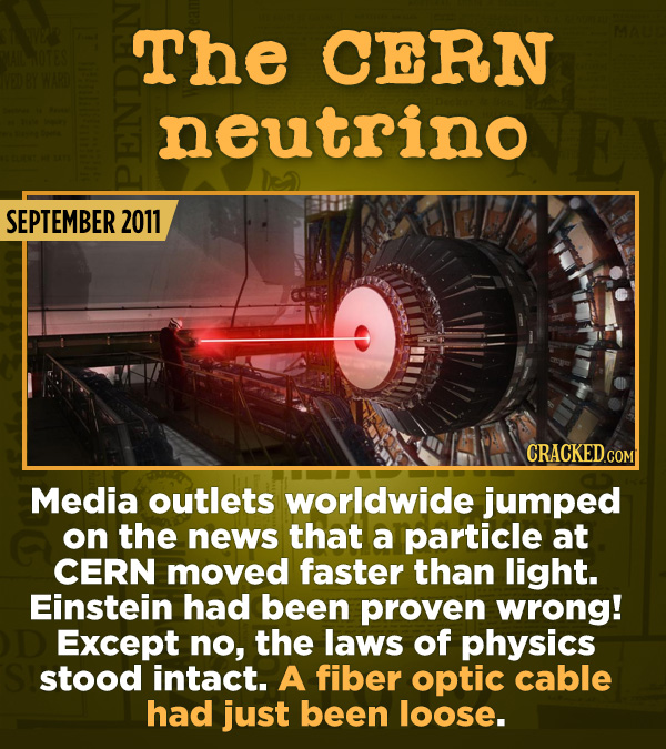 15 Of The Most Shameful Cases Of False Reporting From The Media - Media outlets worldwide jumped on the news that a particle at CERN moved faster than