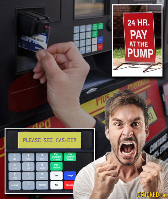 24 HR. PAY AT THE PUMP renii PIUS PLEASE SEE CASHIER ALI Pay 1 2 3 Pay Outside Outside ABC DEY Credit Dabit 5 6 Pay Inside 01 I MO 7 B 9 Yes Helo pS T
