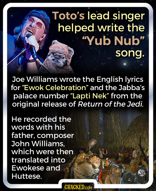 Toto's lead singer helped write the Yub Nub song. Joe Williams wrote the English lyrics for Ewok Celebration and the Jabba's palace number Lapti