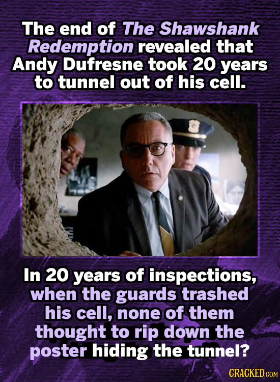 The end of The Shawshank Redemption revealed that Andy Dufresne took 20 years to tunnel out of his cell. In 20 years of inspections, when the guards t