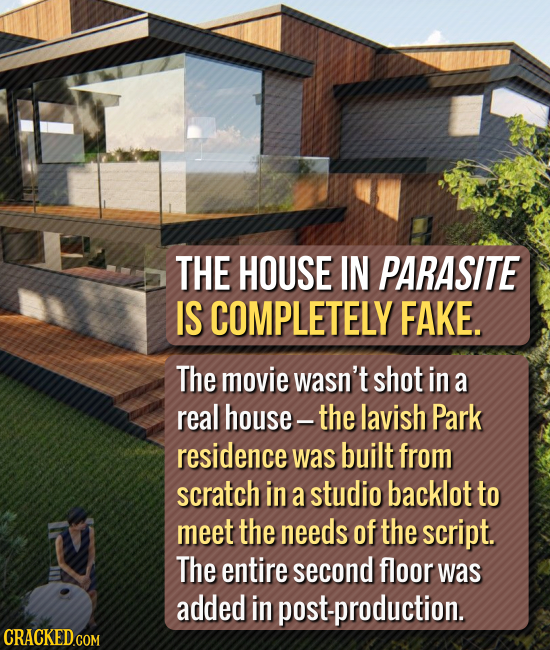 THE HOUSE IN PARASITE IS COMPLETELY FAKE. The movie wasn't shot in a real house- the lavish Park residence was built from scratch in a studio backlot