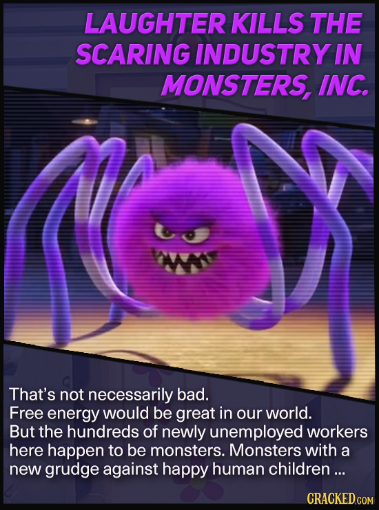 LAUGHTER KILLS THE SCARING INDUSTRY IN MONSTERS, INC. That's not necessarily bad. Free energy would be great in our world. But the hundreds of newly u