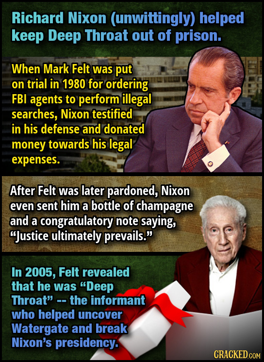 Richard Nixon (unwittingly) helped keep Deep Throat out of prison. When Mark Felt was put on trial in 1980 for ordering FBI agents to perform illegal
