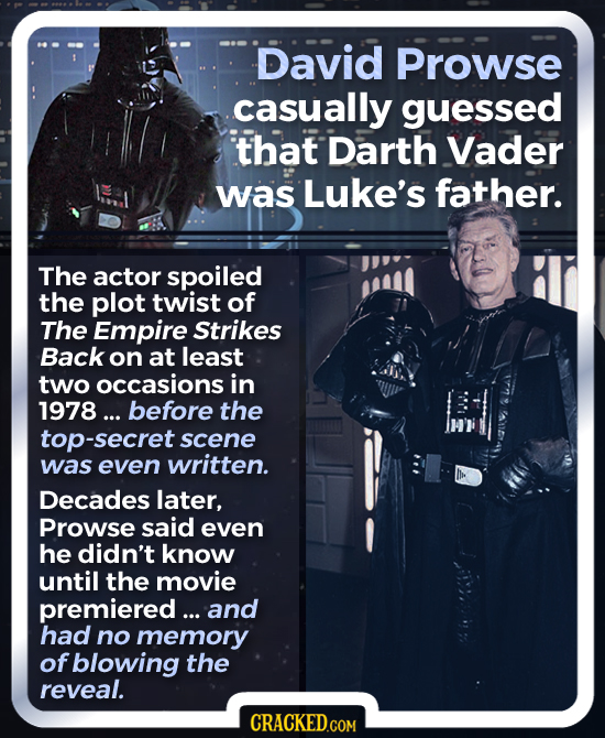 David Prowse casually guessed that Darth Vader was Luke's father. The actor spoiled the plot twist of The Empire Strikes Back on at least two occasion