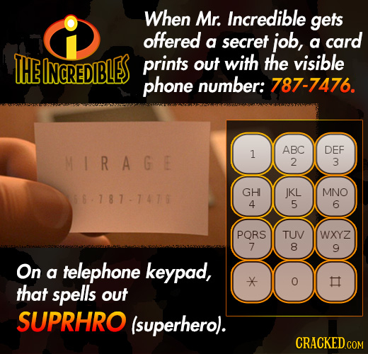 When Mr. Incredible gets offered a secret job, a card THE INCREDIBLES prints out with the visible phone number: 787-7476. ABC DEF MIRAGE 1 2 3 GHI JKL