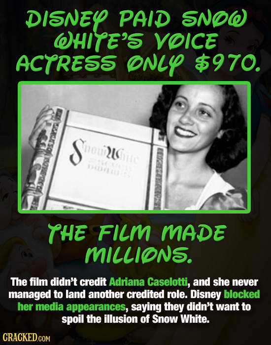 DISNEY PAID SNOW WHITE'S VOICE ACTRESS ONLY $970. erso Sou NSue 2Whutc DC1114 THE FILM MADE MILLIONS. The film didn't credit Adriana Caselotti, and sh