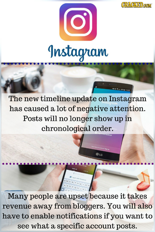 CRACKEDCON Instagram The new timeline update on Instagram has caused a lot of negative attention. Posts will no longer show up in chronological order.