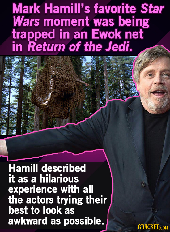 Mark Hamill's favorite Star Wars moment was being trapped in an Ewok net in Return of the Jedi. Hamill described it as a hilarious experience with all