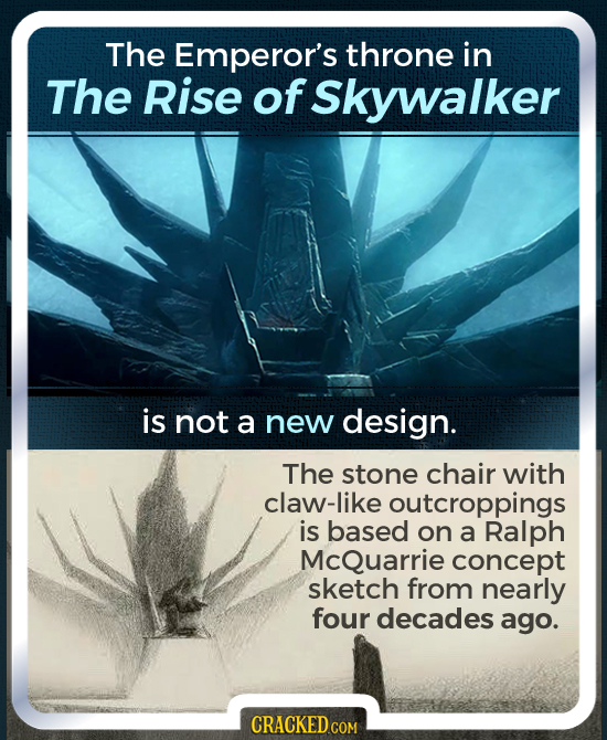 The Emperor's throne in The Rise of Skywalker is not a new design. The stone chair with claw-like outcroppings is based on a Ralph McQuarrie concept s