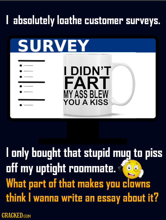 I absolutely loathe customer surveys. SURVEY lull I DIDN'T FART MY ASS BLEW YOU A KISS I only bought that stupid mug to piss off my uptight roommate.