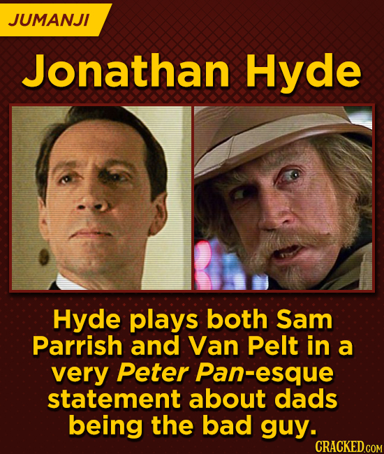 JUMANJI Jonathan Hyde Hyde plays both Sam Parrish and Van Pelt in a very Peter Pan-esque statement about dads being the bad guy. CRACKED.COM