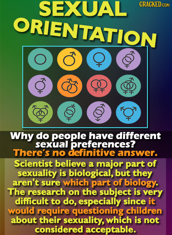 SEXUAL CRACKED COM ORIENTATION 000 Why do people have different sexual preferences? There's no definitive answer. Scientist believe a major part of se