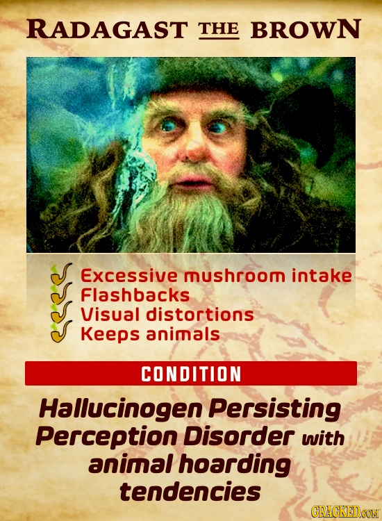 RADAGAST THE BROWN Excessive mushroom intake Flashbacks Visual distortions Keeps animals CONDITION Hallucinogen Persisting Perception Disorder with an