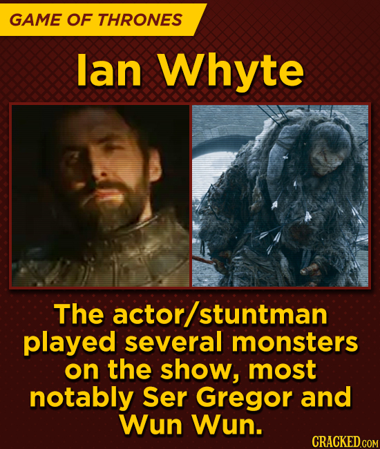 GAME OF THRONES lan Whyte The actor/ stuntman played several monsters on the show, most notably Ser Gregor and Wun Wun.
