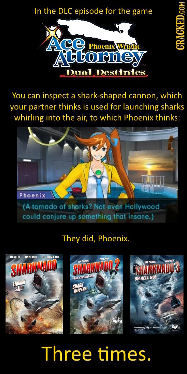 In the DLC episode for the game Ace Phocnix Wrighi Attorney CRAG Dual Destinies You can inspect a shark-shaped cannon, which your partner thinks is us