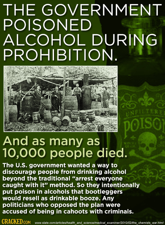 THE GOVERNMENT POISONED ALCOHOL DURING PROHIBITION. UNFILTERE POISO And as many as 10,000 people died. The U.S. government wanted a way to discourage