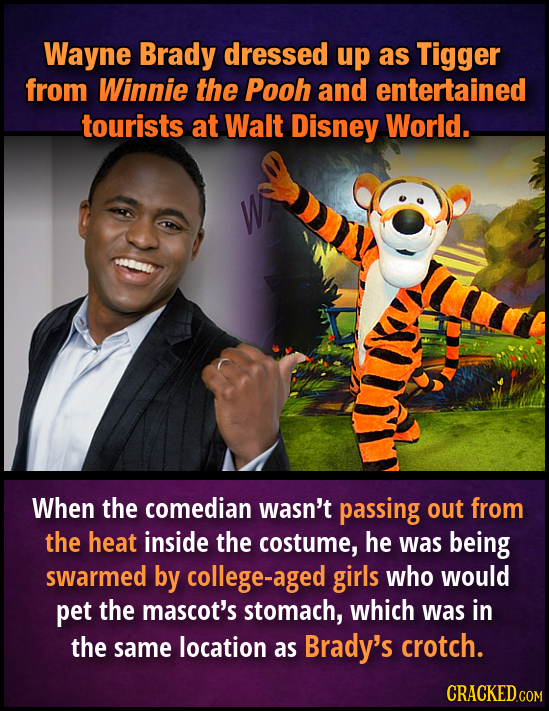 Wayne Brady dressed up as Tigger from Winnie the Pooh and entertained tourists at Walt Disney World. When the comedian wasn't passing out from the hea