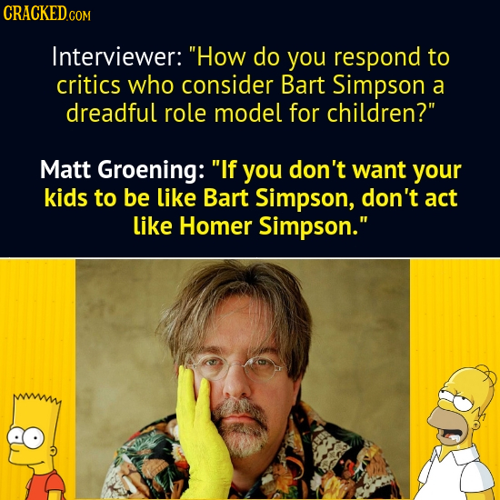 CRACKEDCON Interviewer: How do you respond to critics who consider Bart Simpson a dreadful role model for children? Matt Groening: If you don't wan