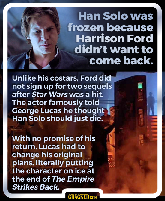 Han Solo was frozen because Harrison Ford didn't want to come back. Unlike his costars, Ford did not sign up for two sequels after Star Wars was a hit