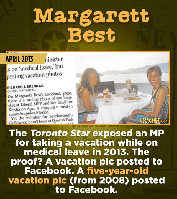 15 Of The Most Shameful Cases Of False Reporting From The Media - The Toronto Star exposed an MP for taking a vacation while on medical leave in 2013.