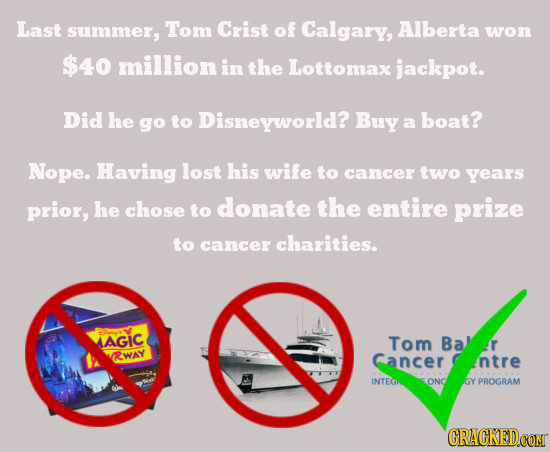 Last summer, Tom Crist of Calgary, Alberta won $40 million in the Lottomax jackpot. Did he go to Disneyworld? Buy boat? a Nope. Having lost his wife t