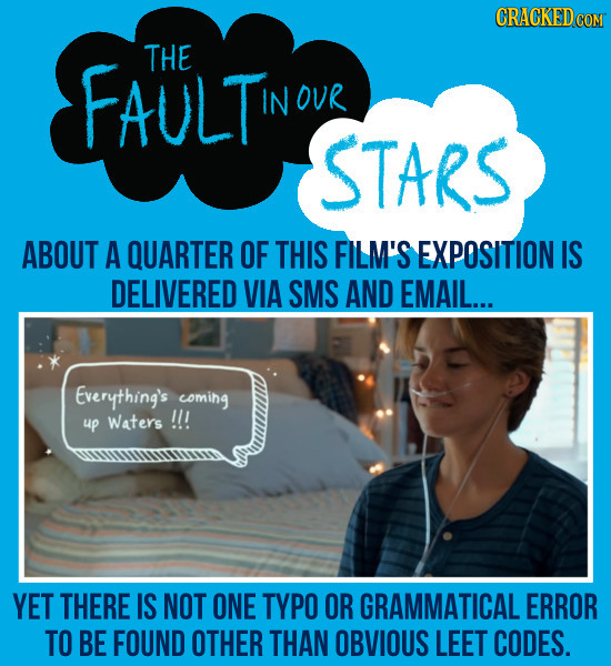 CRACKEDCON FAULTI THE IN OUR STARS ABOUT A QUARTER OF THIS FILM'S EXPOSITION IS DELIVERED VIA SMS AND EMAIL... Everything's coming up Waters !!! YET T