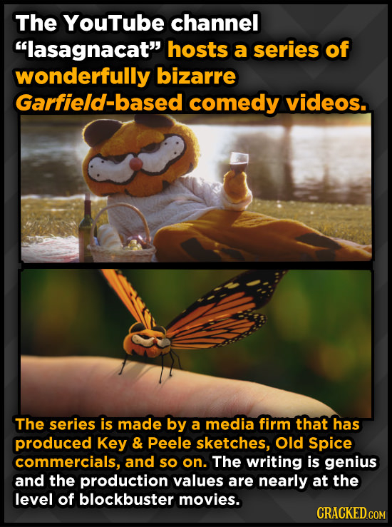 The YouTube channel lasagnacat hosts a series of wonderfully bizarre Garfield-based comedy videos. The series is made by a media firm that has produ
