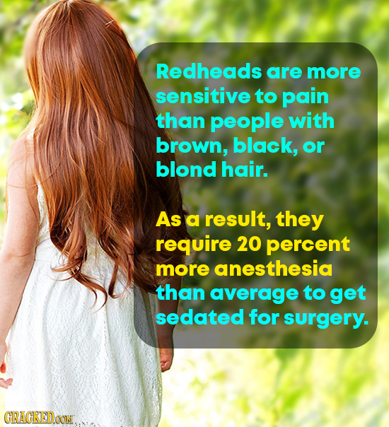 Redheads are more sensitive to pain than people with brown, black, or blond hair. As a result, they require 20 percent more anesthesia than average to