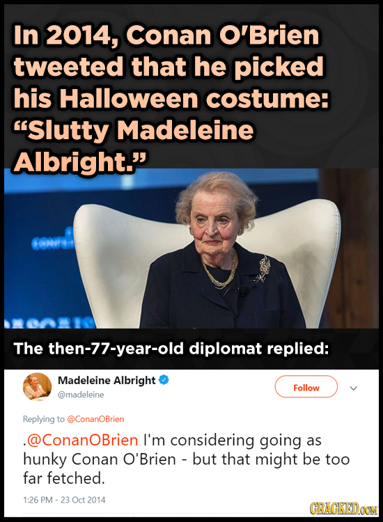 In 2014, Conan O'Brien tweeted that he picked his Halloween costume: Slutty Madeleine Albright. The then-77-year-old diplomat replied: Madeleine Alb