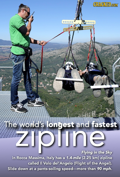 The world's longest and fastest zIpline Flying in the Sky in Rocca Massima, Italy has a 1.4-mile (2.25 km) zipline called l Volo del'Angelo (Flight of