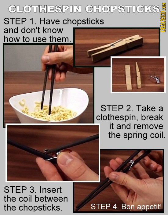 CLOTHESPIN CHOPSTICKS STEP 1. Have chopsticks and don't know GRauN how to use them. STEP 2. Take a clothespin, break it and remove the spring coil. ST